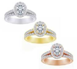 1.55 Ct Oval Shaped Real White Diamond In 14k Solid Gold Bridal Set Wedding Ring