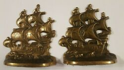 Vintage 1928 Maritime Cast Iron Bookends Flagships Spanish Galleons Bronzed