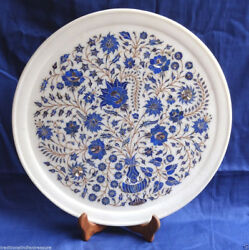 14 White Marble Plate Lapis Lazuli Inlay Pietra Dura Floral Home Decor Gifts