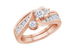 Certified Diamond Engagement Ring Bridal Set In 14k Rose Gold Christmas Special
