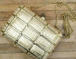 Vintage 80s Ivory Silver Bag Purse Metallic Alligator Faux Leather Minaudiere $41.58