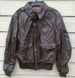 Genuine Us Army Air Force Flyers Menand039s Leather Type A-2 Flight Jacket - Size 40.