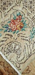 Antique 1930-1940and039s Distressed Wool Pile Aubusson Oushak Area Rug 5and0395andtimes8and03910