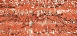 Antique Cr1930-1949and039s Distressed Wool Pile Overdyed Red Oushak Area Rug 5and0397x 9and039