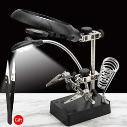 Soldering Iron Stand Welding Tool 3 Hand With Illuminated Glasses Led Alligator