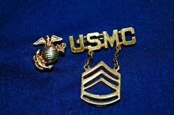 Lot Of 2 Wwii Era Usmc Sweetheart Pins Ega And Technical Sergeant Pins