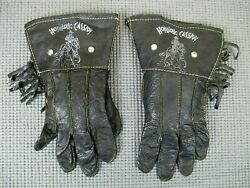 Vintage Pair Of Black Hopalong Cassidy Cowboy Toy Play Gloves
