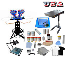 6 Color 6 Station Screen Printing Kit Color-matching Printer/ Flash Dryer/ Ink