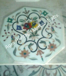 24x24 Inch White Marble Coffee Table Top Marquetry New Year Gifts Arts