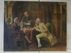 Oil On Canvas - 3 Men Around Table With Books - August Hermann Knoop