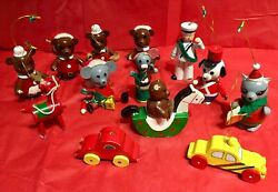 Vintage Wooden Christmas Ornaments 1979 Lot Of 13