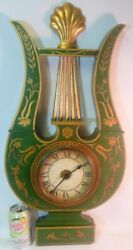 Superb Large Vtg Tole Metal Wall Clock Chapman Regency Lyre French Empire