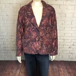 Coldwater Creek Tapestry Jacket Holiday Career Party Size PL Floral Red Purple