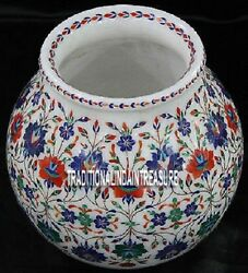 12 White Marble Flower Pot Lapis Hakik Marquetry Work Inlay Collectible Gifts