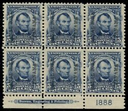 Canal Zone 6, 5¢ Lincoln, Imprint Plate No. Block Of 6, Nh W/1 Stamp H, Xf Gem