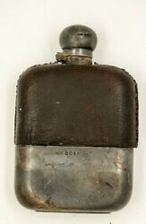 Antique Sterling Silver Hip Flask James Dixon And Sons Leather Clad Luxury 1895