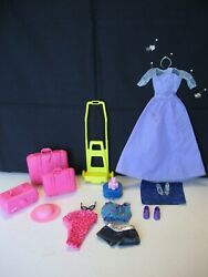 Vintage Mattel Barbie Doll Accessories Luggage Clothing Shoes Lot 19 Pc