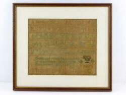 Antique Framed Sampler By Priscilla P Oliver Aged 12 Unknown Date Good Condition