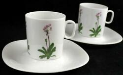 Block Floral Portraits 2 Cup And Saucer Sets Shooting Star Pc 0074d Great Cond