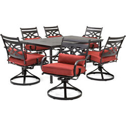 Montclair7pc 6 Swivel Rockers, 40x66 Dining Table - Chili Red/brown