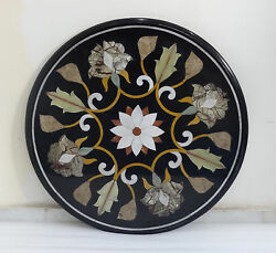 24 Marquetry Top Coffee Table Rare Black Marble Inlaid Handmade Gift Decor Art