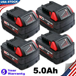 4x For Milwaukee M18 18v Xc 5.0ah Lithium-ion Battery 48-11-1852 18 Volt Compact