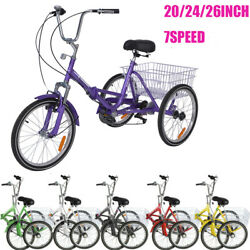 Adult 7speed Folding Tricycle Bike 3 Wheeler Bicycle Portable Tricycle 20 Wheel