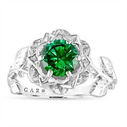 Green Diamond Solitaire Floral Engagement Ring, 1.01 Ct 14k White Or Black Gold