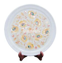 10 White Marble Serving Plate Mother Of Pearl Inlay Mosaic Collectible Decor