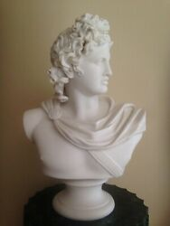 Neoclassic Parian Bust Of Apollo Belvedere Sevres 17 In Tall Porcelain Bisque