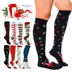 Christmas Compression Socks Women Men Gift Santa Claus Deer Warm Winter Xmas OBS