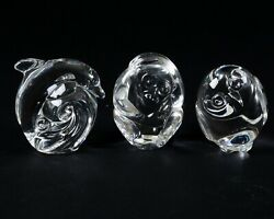 Set Of 3 Signed Steuben Crystal Hand Cooler Paperweights Monkey Dolphin And Owl