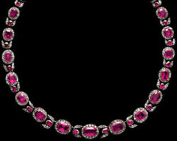 18.20ct Rose Cut Diamond Ruby Antique Victorian Look 925 Silver Necklace