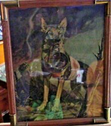 Vintage Framed Puzzle Wwi Soldier And His German Sheppard On The Battlefield