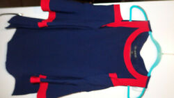 Boston  Proper Navy Blue RED Cold Shoulder Top TUNIC TULIP SLEEVES CUTE SIZE M