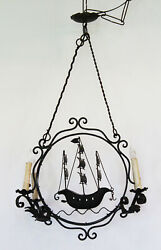 Antique Italian Hand Made Wrought Iron Ship Chandelier From Genoa Italy