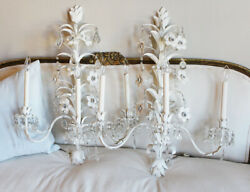 Monumental Italian Tole Pair Flower And Crystals Wall Sconces Shabby Chic Gorgeous