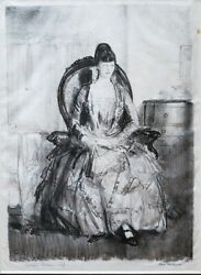 George Bellows Lithograph Lady With A Fan Emma In A Chair Mason 111 1921