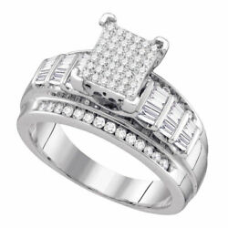 Sterling Silver Womens Round Diamond Cluster Bridal Wedding Engagement Ring 58