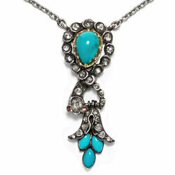 Biedermeier Um 1855 Snake Necklace In Gold Turquoise And Diamonds Serpent