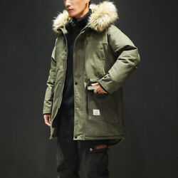 Menand039s Hooded Faux Fur Collar Cotton Padded Jacket Fashion Cargo Pocket Outwear