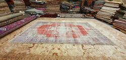 Antique 1930-1940and039s Wool Pile Natural Dye Distressed Oushak Area Rug 6and039 X 9and03910