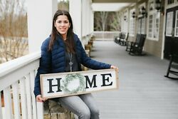 Large Farmhouse Wooden Framed Home Plaque With Green Wreath
