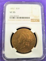 1852 20 Liberty Head Gold Coin Ngc Vf 35