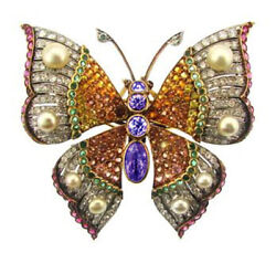 3.11ct Rose Cut Diamond Mix Gemstone Antique 925 Silver Butterfly Brooch Pin