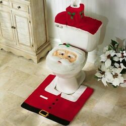 Merry Christmas Toilet Seat And Cover Santa Claus Bathroom Mat Christmas Home Deco