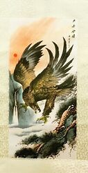 1 Pc of Printed Chinese Drawing Silk Scroll Wall Hanging Tapestry in Eagle Theme