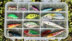 Set Of 16 New Freshwater Bass Trout Walleye Crankbait Lures In Plano Tackle Box