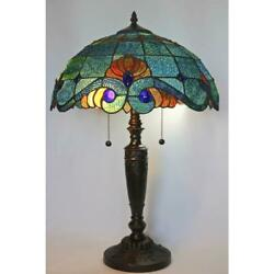 Style 25 In. Blue Vintage Table Lamp   Glass Shade Stained Light Bell