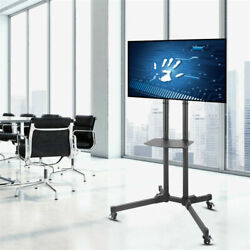 Mobile Cantilever Tv Stand Cart Floor Stand Tv Mount Bracket W/ Wheel And Shelf